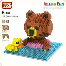 LOZ Pixels Building Nano Blocks Mini Toys Assembly Model Brown Bears Swim Small Yellow Duck Anime