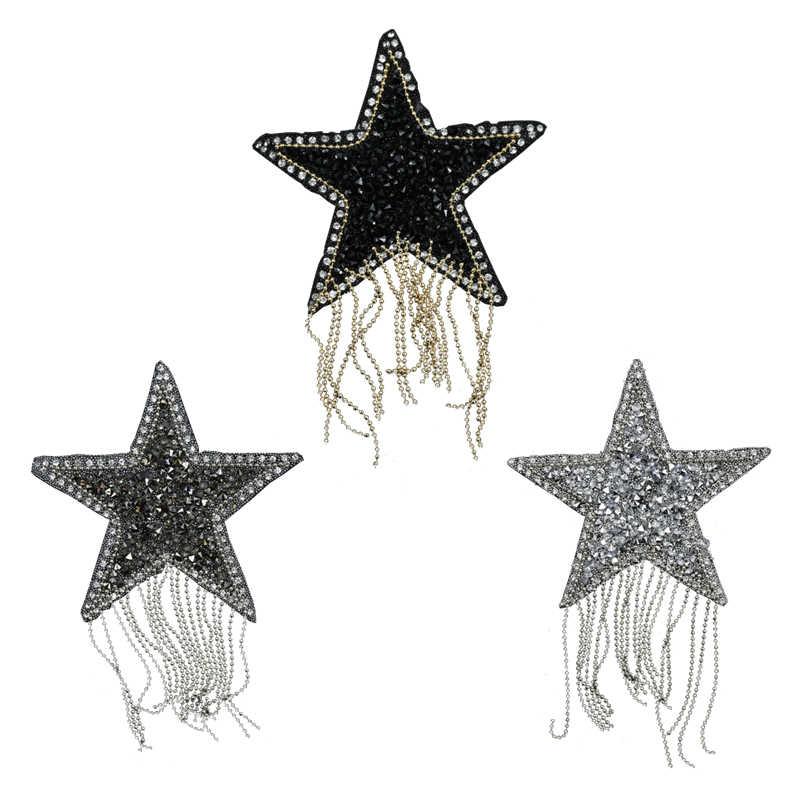 שוליים ציצית נצנצים כוכב אפליקצית תיקון ריינסטון רקמת ברזל על תיקוני בגדי שקיות כובעי רעיונות מדבקות