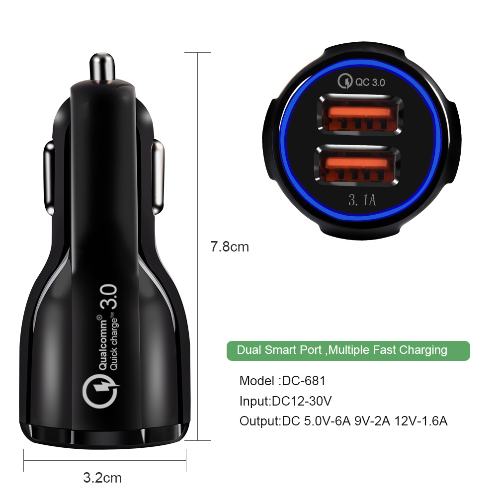 Car USB Charger Quick Charge 3.0 Mobile Phone Charger 2 Port USB Fast Car Charger adapter for iPhone Samsung Tablet Car-Charger