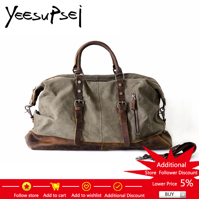 YeeSupSei Canvas Leather Men Travel Bags Carry on Luggage Bags Men Duffel Bags Travel Tote Large Capacity Weekend Bag Overnight mybrandoriginal travel totes wax canvas men travel bag men s large capacity travel bags vintage tote weekend travel bag b102