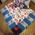 [Sour lemon] 70*70 centímetros bandana foulard cachecóis lenço de seda envoltório lenços dos desenhos animados oliver shoul bonita do coração das mulheres lenço quadrado