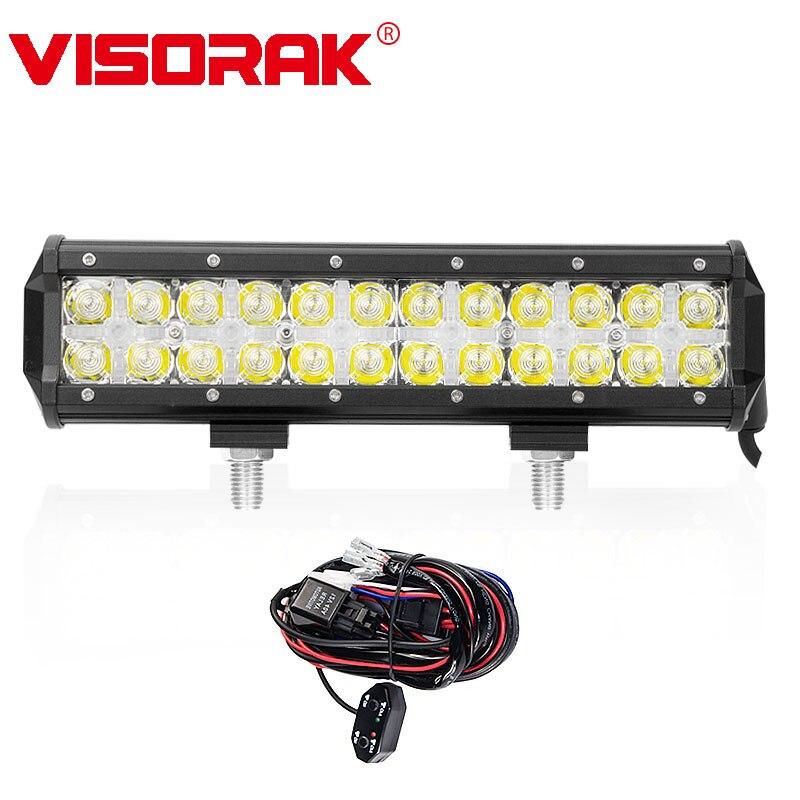 VISORAK 7D 12 дюймов кри фишек светодиодный свет бар 120 Вт Combo Луч + Крест DRL светодиодный бар 4x4 грузовых вагонов для Ford Jeep GMC Toyota внедорожник ATV