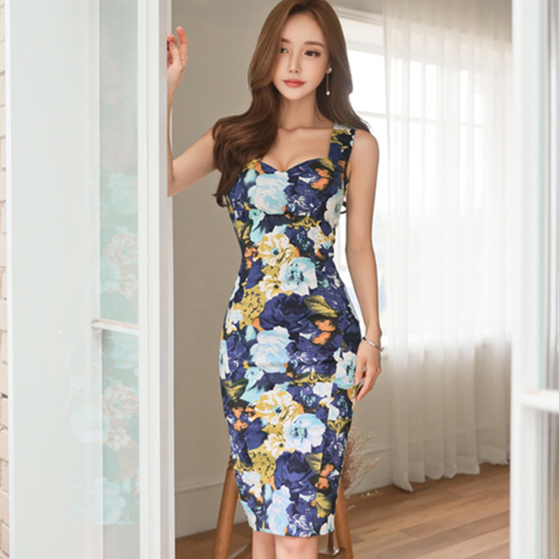 f19705e9ed27 ZAWFL 2019 Summer Fashion Sexy Cut Out Pencil Dress Korean Slim Print Party Dress  Women Work Casual Bodycon Dresses -in Dresses from Women's Clothing on ...