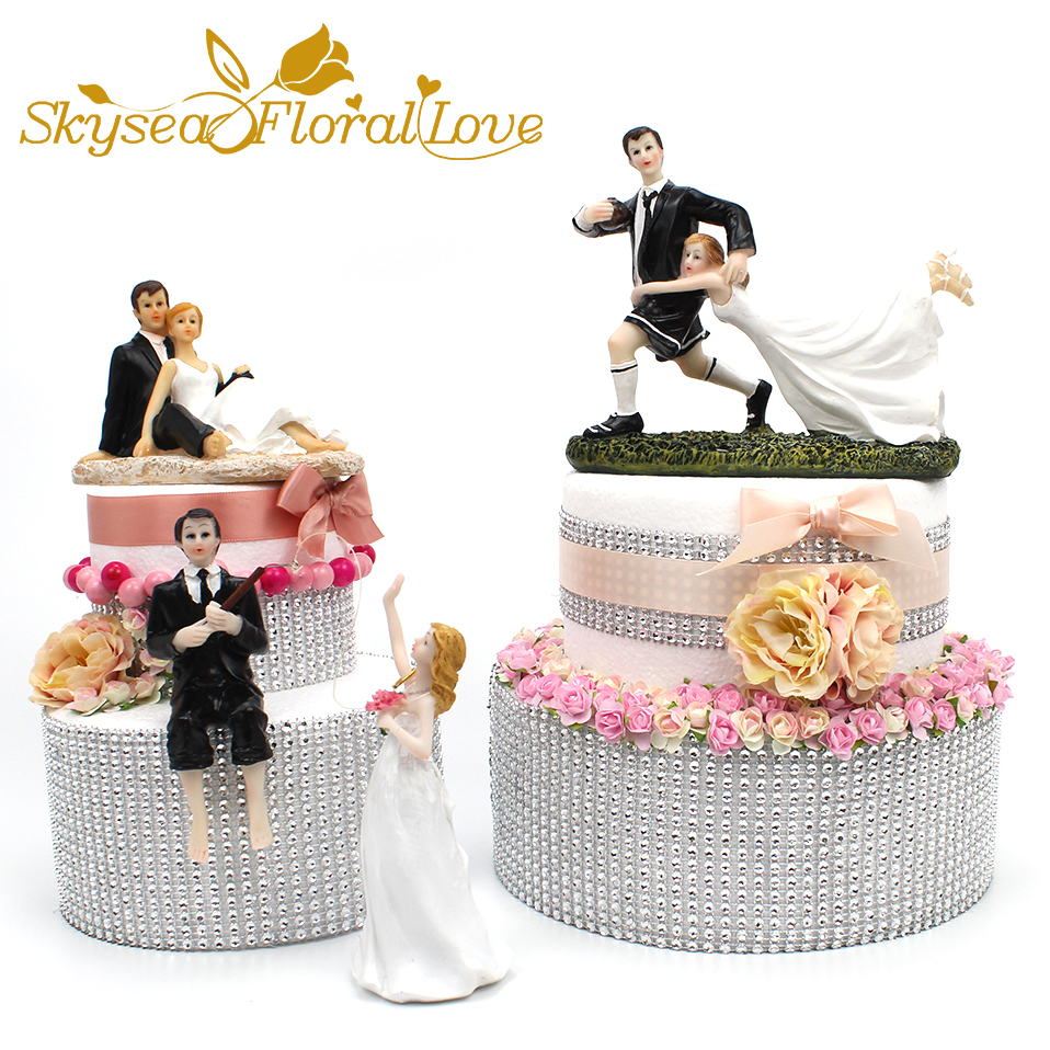 Creative Bride and groom cake toppers fishing football wedding cake ...