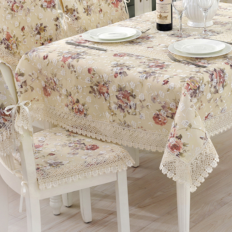 Garden style embroidery lace patchwork table cloth, Rectangle flower beige tablecloths chair cover (LRT8179501)