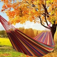 Portable Outdoor Garden Canvas Hammock Hang Bed Travel Camping Swing Survival Outdoor Sleeping