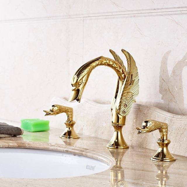 Luxury Golden Brass Swan Faucet Widespread 3 Holes 2 Handles Vanity Sink  Mixer