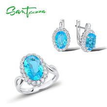 Женский комплект украшений SANTUZZA, серьги из чистого серебра 925 пробы с небесно голубыми кристаллами и камнями