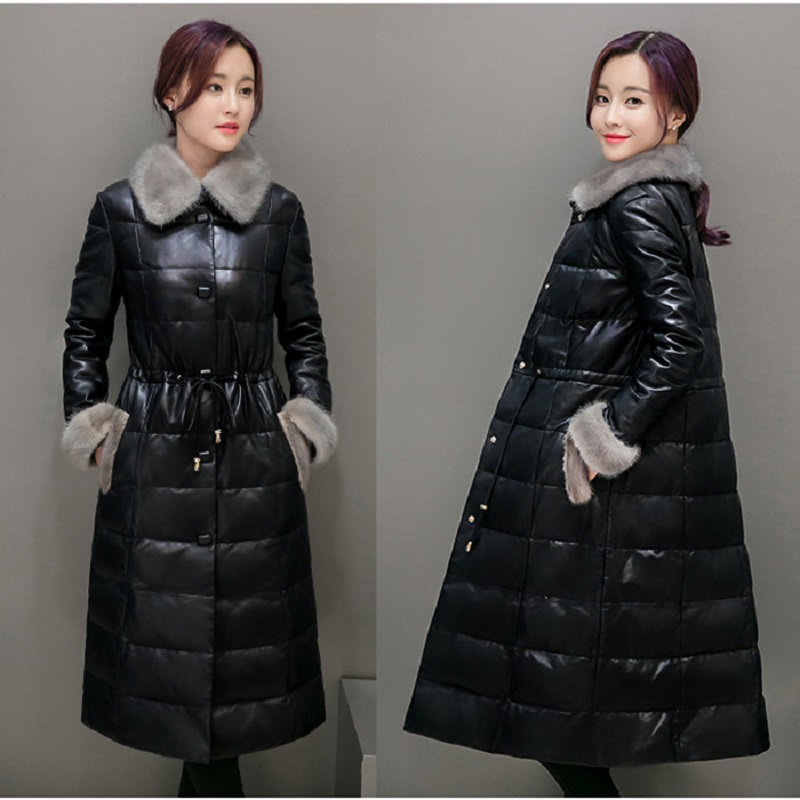 Women Genuine Leather Long Jacket&Coat Down Top Coat Faux Mink Fur Turn-down Collar Outwear Winter Warm Slim Adjustable MY0050 s 2xl 2 colors 2015 new winter women down coat long slim turn down collar zipper jacket female belt pocket outwear zs308