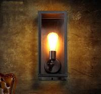 American iron epoca loft lampada da parete E27 balcone creativo nero scone caffè negozi luce per camera da letto balcone A53
