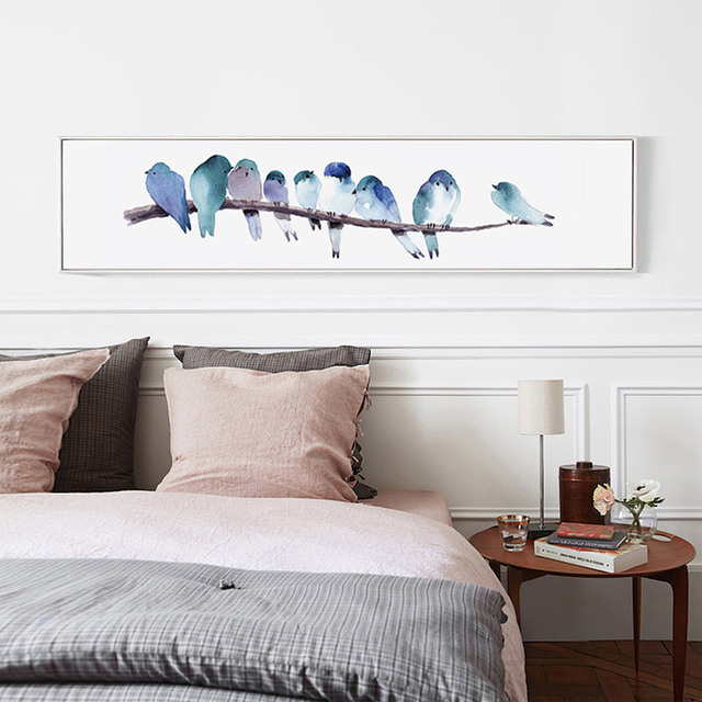 Geen Frame Nordic Kunst Canvas Aquarel Vogels Poster Canvas ...