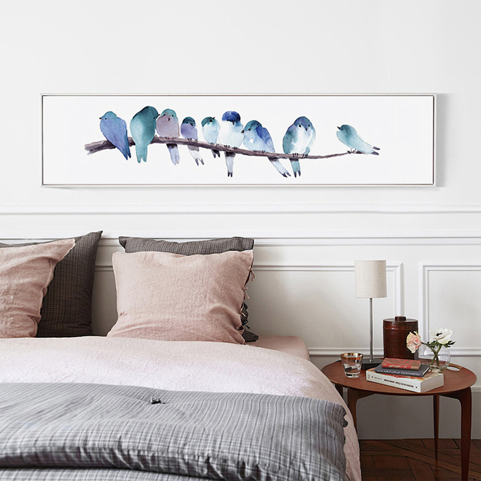 No Frame Nordic Art Print On Canvas Watercolor Birds Poster Canvas Painting For Bedroom Wall Picture Scandinavian Home Decor
