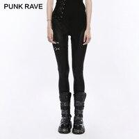 PUNK RAVE Punk Rock Ladies Black Elastic PU Leather Knit Slim Leggings Women Bandage Lace Up Gothic Trousers Casual Pencil Pants