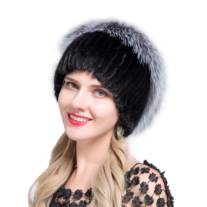 JERYAFUR Fashion Winter Hats For Women Real Mink Fur Hat Female Patchwork Fox Fur Mix Color Internal Knitting   Beanies   Warm New