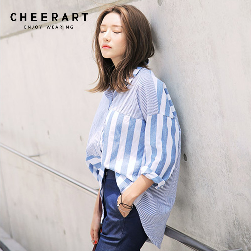 b41a4fb2c285 Cheerart Striped Blue Long Sleeve Blouse Women Spliece Loose Tops And Blouses  Button Up Shirt Femme Korean Fashion Autumn 2018-in Blouses   Shirts from  ...