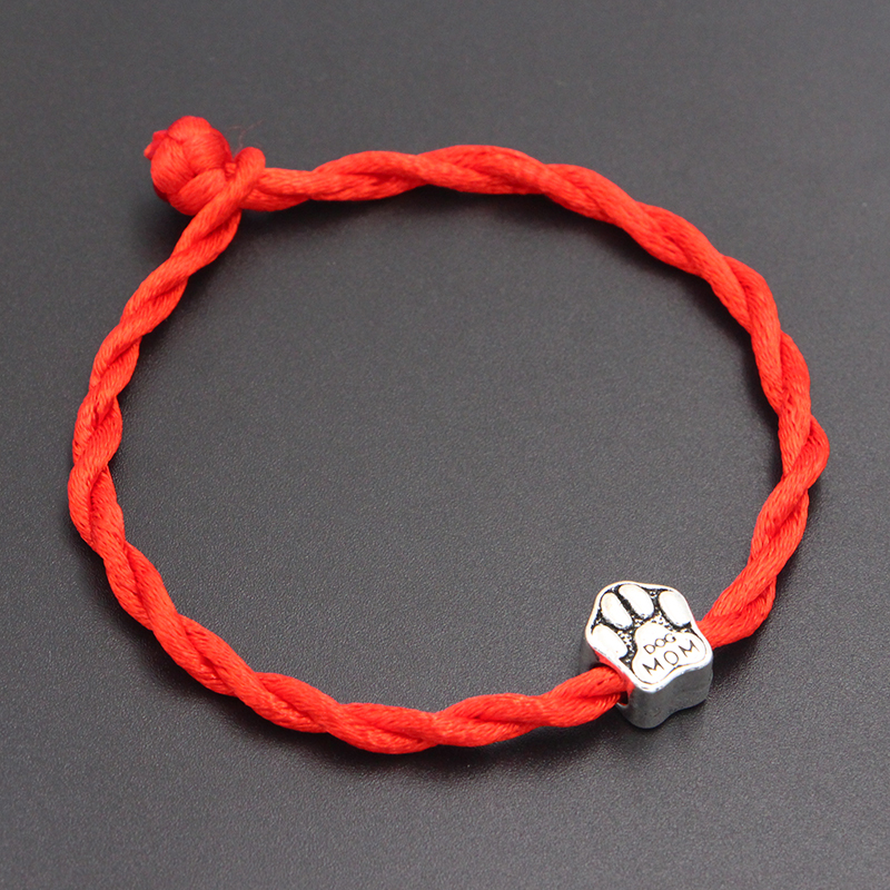 2020 New Dog Mom Paw Prints Beads 4mm Red Thread String Bracelet Lucky Red Handmade Rope Charm Bracelet for Women Men Jewelry