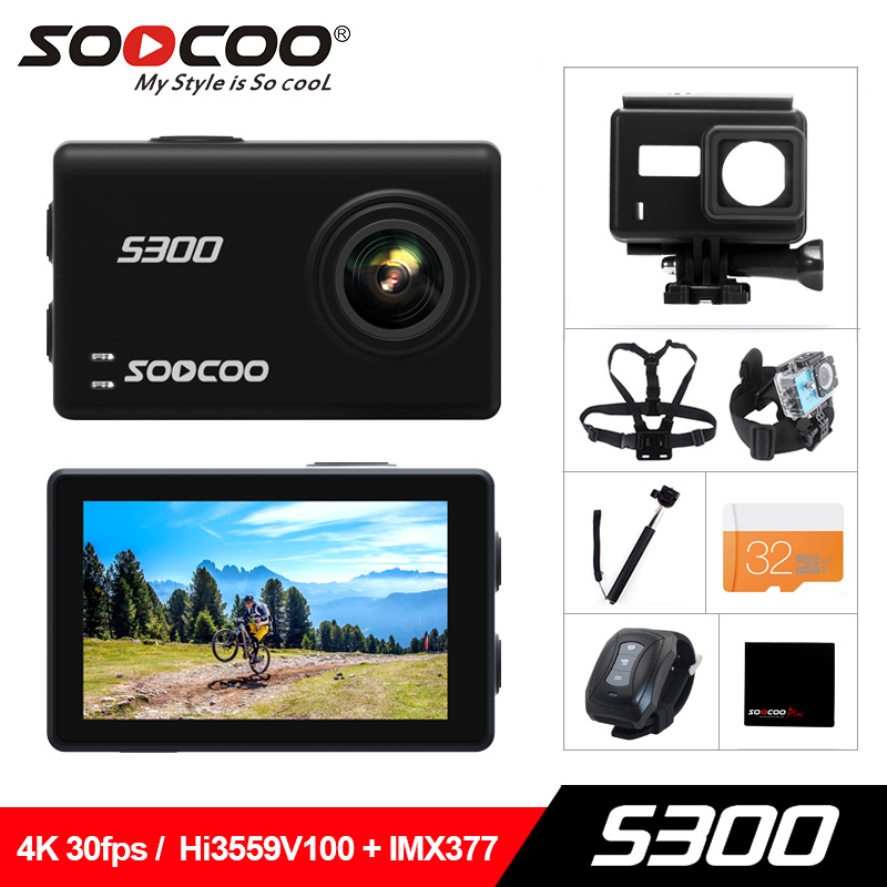 SOOCOO S300 D'action Caméra 2.35 tactile lcd Hi3559V100 + IMX377 4 k 30fps EIS Wifi 12MP CMOS à distance externe mic sport cam