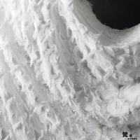 2019 Luxury women dress lace material good quality! 1 Yard 3d white lace fabric with feather and tassel!