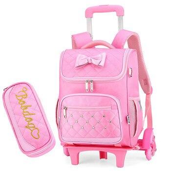 Waterproof Children trolley School bags princess Girls Backpacks Kids Book Bags Children primary school Backpacks bolsa infantil
