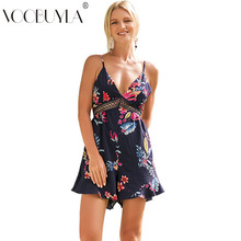 aab736162f26 Voobyla Bohemian Jumpsuits Women Summer Floral Print Rompers Female Beach  Off Shouder Romper Sexy V Neck Back Lace Up Overalls