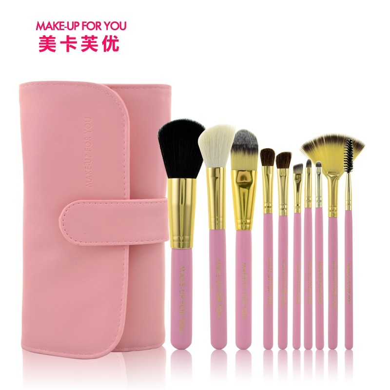 2017 Hot Professional 10PCS/Set Pink Makeup Brushes Goat Hair Cosmetic Brushes hotsale 10pcs set pink