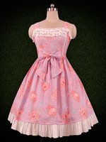 Sweet Lolita Dress Printed Ruffle and Bow Lolita Jumper Skirt Dress Cute Girl Dress