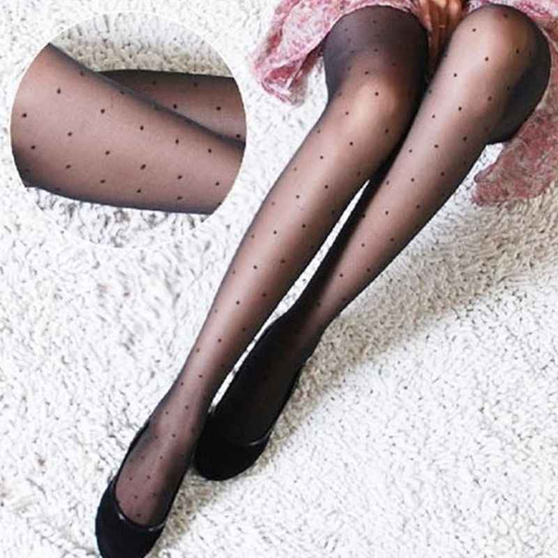 919c780518ebf Women Sexy See Through Perspective Pantyhose Covering Yarn Small Wave Point  Dots Footed Tights Stockings Slim