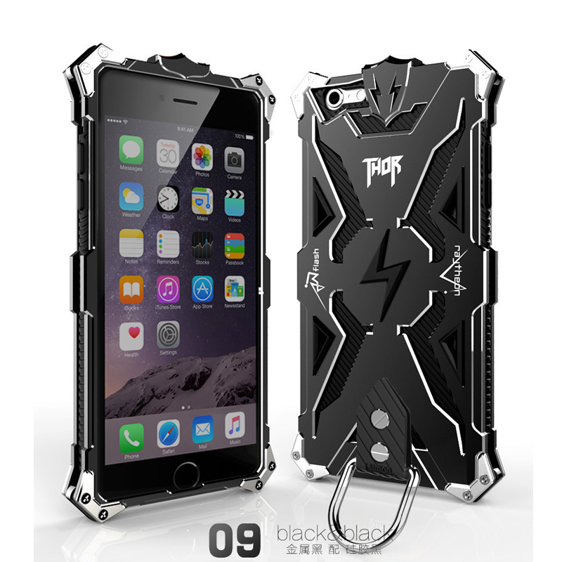 New Version Simon Thor Iron Man for iPhone 6 6S Plus Case Metal Aluminum Back Cover Luxury Tough Armor Phone Cases+Cramp Ring