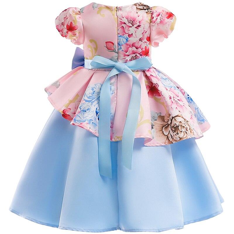 Girls Christmas Flower and Bird Dress Girl Princess Costume Dresses Girl Party Kids Children Prom Gown Vestido Formal Dress Bow 6