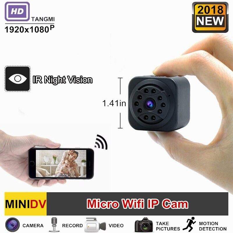 2018 nuevo 1080 p HD inalámbrico Wifi IP Mini cámara de visión nocturna con detección de movimiento de Audio y vídeo portátil inalámbrico Micro leva secreta