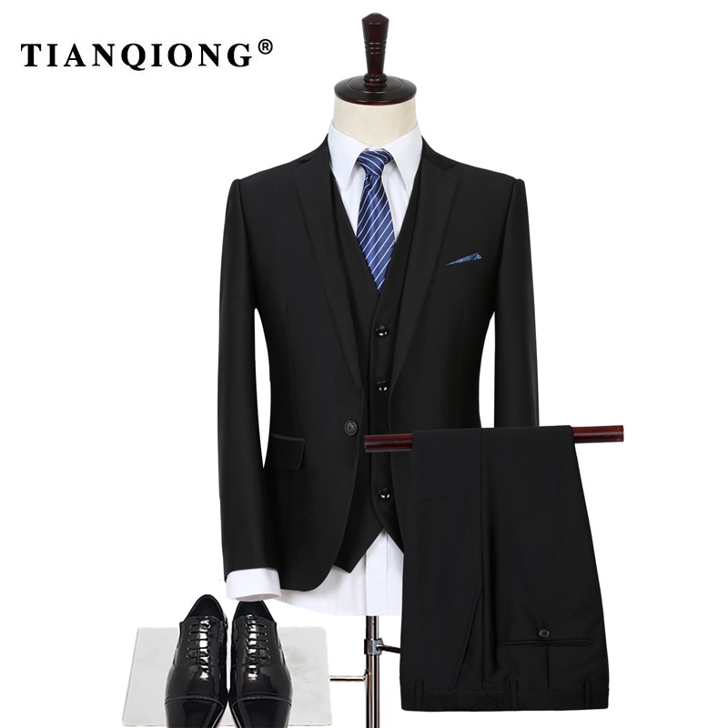 TIAN QIONG Brand Mens Wedding Suits Top Quality Royal Black Mens Suit Oversized S-3XL Business Suit Brand Clothing Costume Homme