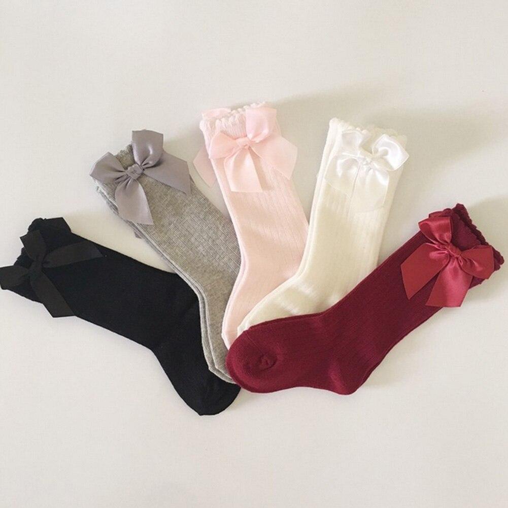Baby Girls Socks Knee High with Bows Princess Socks Girl Cute Baby Sock Long Tube Kids Children Bow tie vertical stripes 2017
