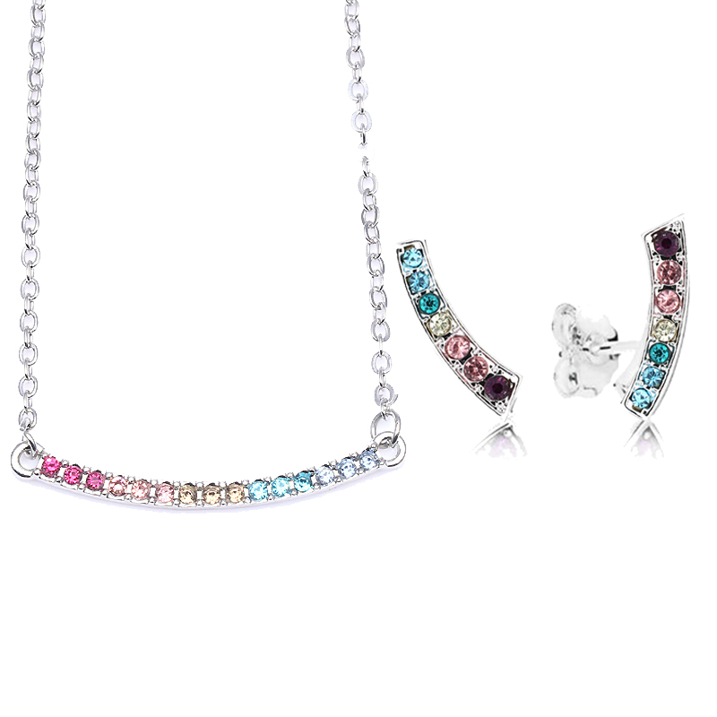 Boosbiy High Quality Jewelry Sets for Women Round Cubic Zircon Brand Necklace/Earrings Jewelry Sets Wholesale Valentine Gift