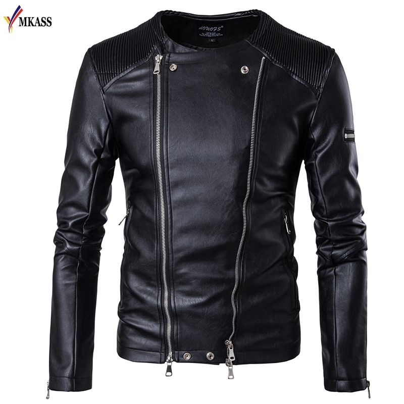 Men Leather Jackets Black Pu Leather Coat Mens Winter Leather Motorcycle Jacket Faux Fur Leather Overcoat 5XL jaqueta de couro