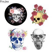Prajña Punk Patch Rose Schedel Opstrijktransfer Schedel Warmteoverdracht Vinyl Kleding Sticker Cool Accessoires Voor Mannen Jas DIY Shirt(China)