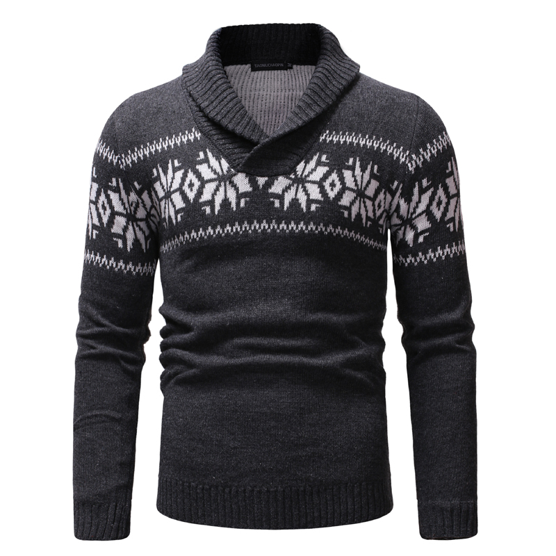 HEFLASHOR Vintage Print Sweater Men Christmas Warm V Neck Long Sleeve Pullover Men Casual Patchwork Pull Homme Knitted Sweaters