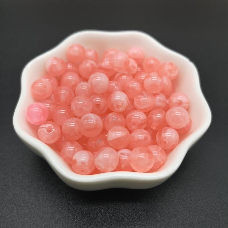 6, 8, 10 мм, Имитация натурального камня, круглые акриловые бусины с эффектом облаков, бусины для изготовления ювелирных изделий, браслет, ожерелье, аксессуары DIY - Цвет: 04-Pink