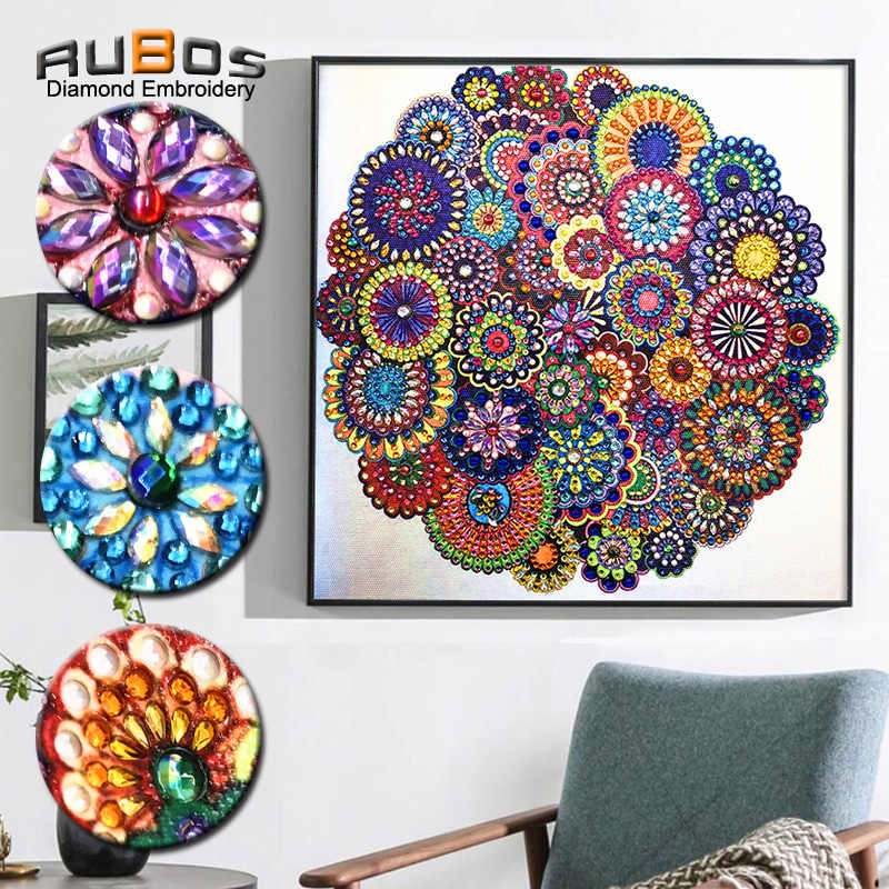 RUBOS Diamond Embroidery Floral Diamond Painting Flower Art Abstract Pearl DIY 5D Big Crystal Picture bead Mosaic New Sale Wall