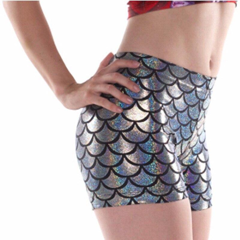 Восточное Вязание E170 Русалка модные шорты сексуальные новые женские повседневные шорты серебряные рыбья чешуя шорты Прямая поставка