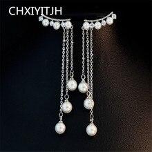 925 Sterling silver Stud earrings Long ears line pearl Set auger Women's fashion jewelry