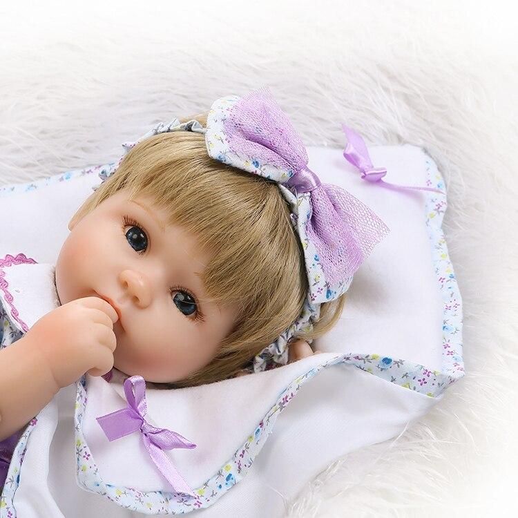 Bebe Pretty girl doll reborn 40cm soft cloth body silicone newborn dolls blond hair wig best