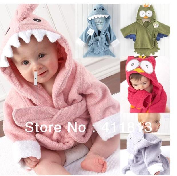 Menina menino Retail bebê Animal roupão / banho bebê com capuz toalha / crianças crianças banho de terry banho infantil / bebê roupão HoneyBaby