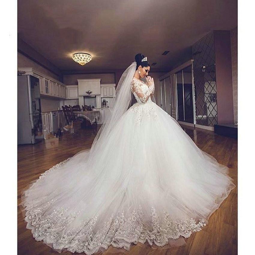 vestido de noiva Dubai Long Sleeve White Ball Gown Long train Princess Wedding Dresses Plus Size Vintage Bridal Dress Casamento