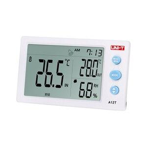 Image 2 - UNI T a12t digital lcd termômetro higrômetro temperatura medidor de umidade despertador estação meteorológica ao ar livre indoor instrumento