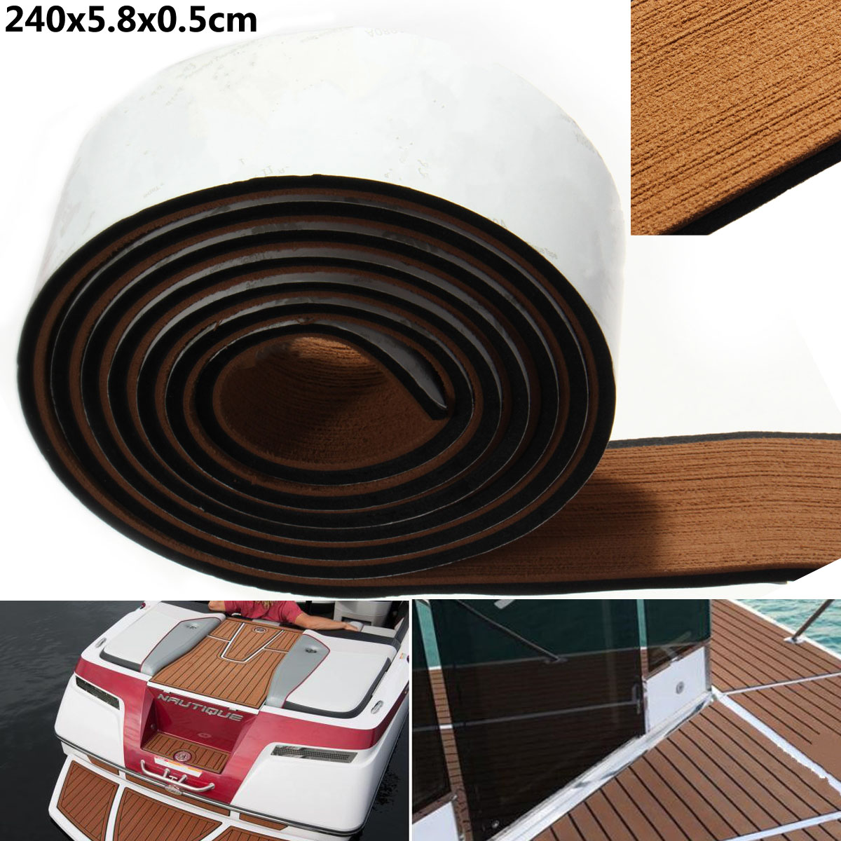 Self Adhesive EVA Boat Yacht Marine Flooring Faux Imitation Teak Decking Sheet Pad 58x2400x5mm Foam Floor Mat Brown Wholesale