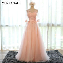 VENSANAC 2017 New A Line Embroidery O Neck Long Evening Dresses Elegant Half Sleeve Sash Lace Appliques Party Prom Gowns
