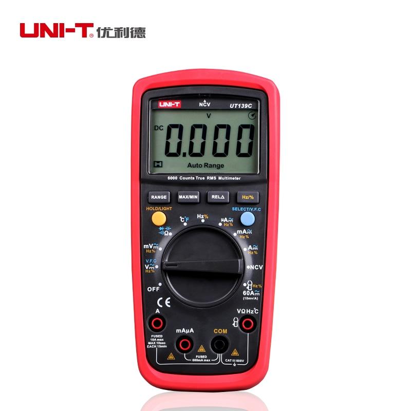 UNI T UT139C True RMS digitális multiméter automatikus / kézi tartománymérő 6000 számláló voltmérő ohmmérő hőmérséklet frekvencia teszt