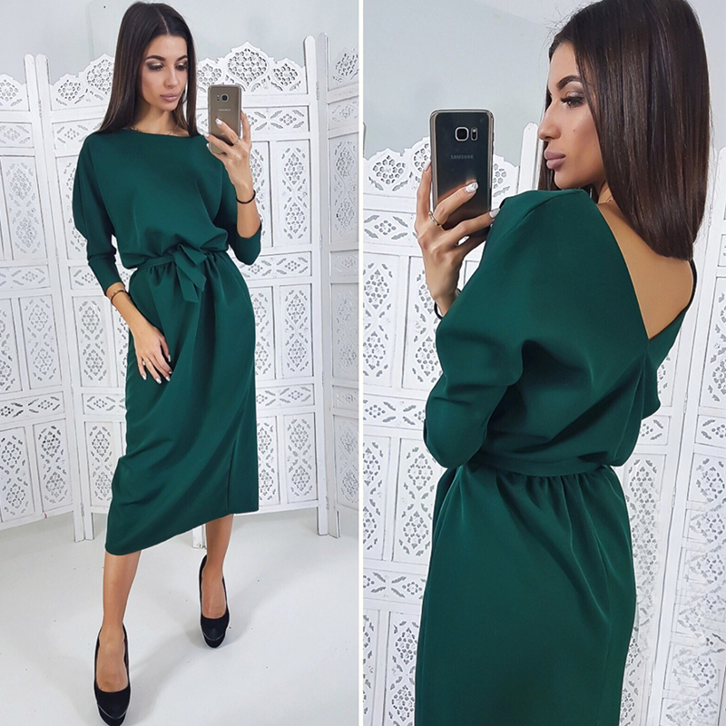 Women Casual Backless Sashes A-line Party Dress Three Quarter Sleeve O Neck Solid Vintage Dress 2019 Summer New Fashion Dress