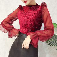 P913 Women New Fashion Autumn Winter Velvet T Shirt Korean Vintage Sweet Gauze Stitching Long Sleeve