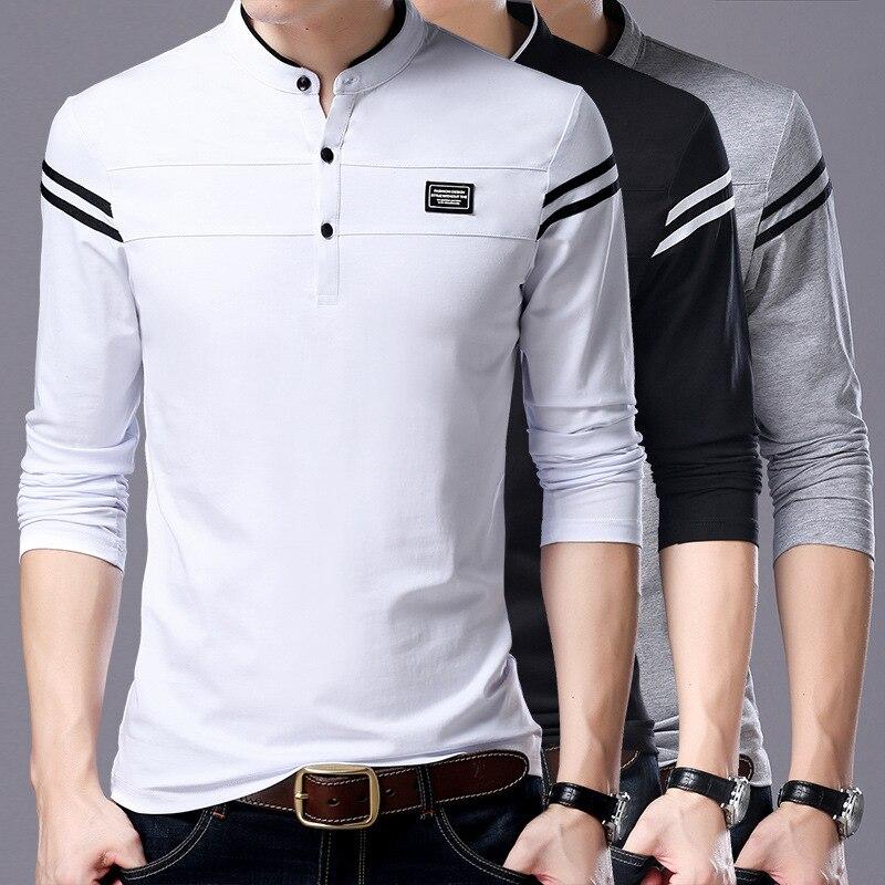 Liseaven Men T Shirt Man Long Sleeve tshirt Men's Clothing Mandarin Collar T-Shirts Tops & Tees Male Tshirts 5